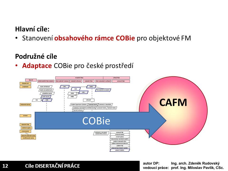 Hlavní cíle: Stanovení obsahového rámce COBie pro objektové FM Podružné cíle Adaptace COBie pro české prostředí CAFM COBie 12Cíle DISERTAČNÍ PRÁCE