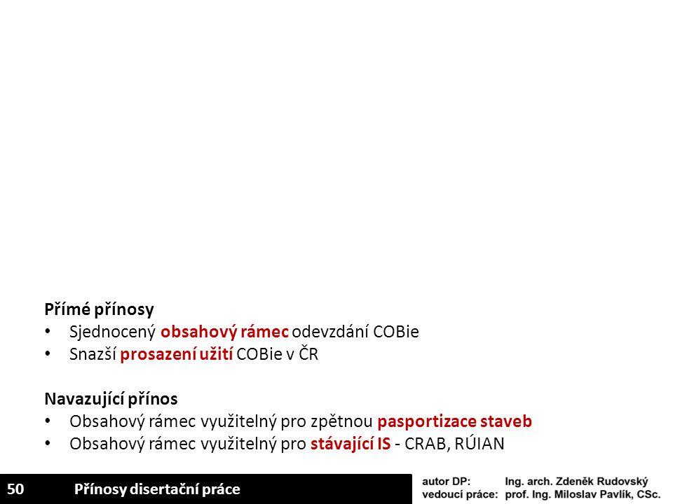 Přímé přínosy Sjednocený obsahový rámec odevzdání COBie Snazší prosazení užití COBie v ČR Navazující přínos Obsahový rámec využitelný pro zpětnou pasp