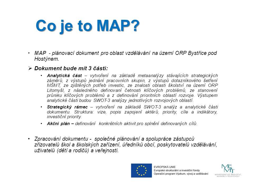 Co je to MAP. MAP - plánovací dokument pro oblast vzdělávání na území ORP Bystřice pod Hostýnem.