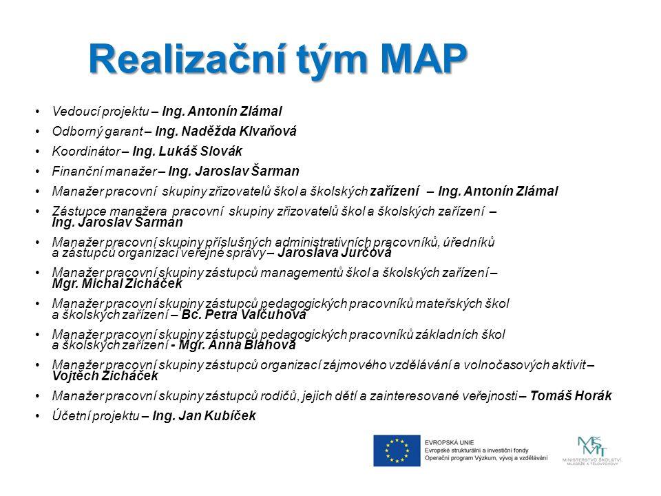 Realizační tým MAP Vedoucí projektu – Ing. Antonín Zlámal Odborný garant – Ing.