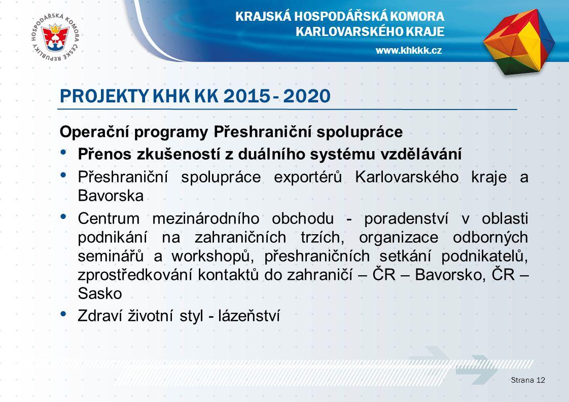 Operační programy Přeshraniční spolupráce Přenos zkušeností z duálního systému vzdělávání Přeshraniční spolupráce exportérů Karlovarského kraje a Bavo