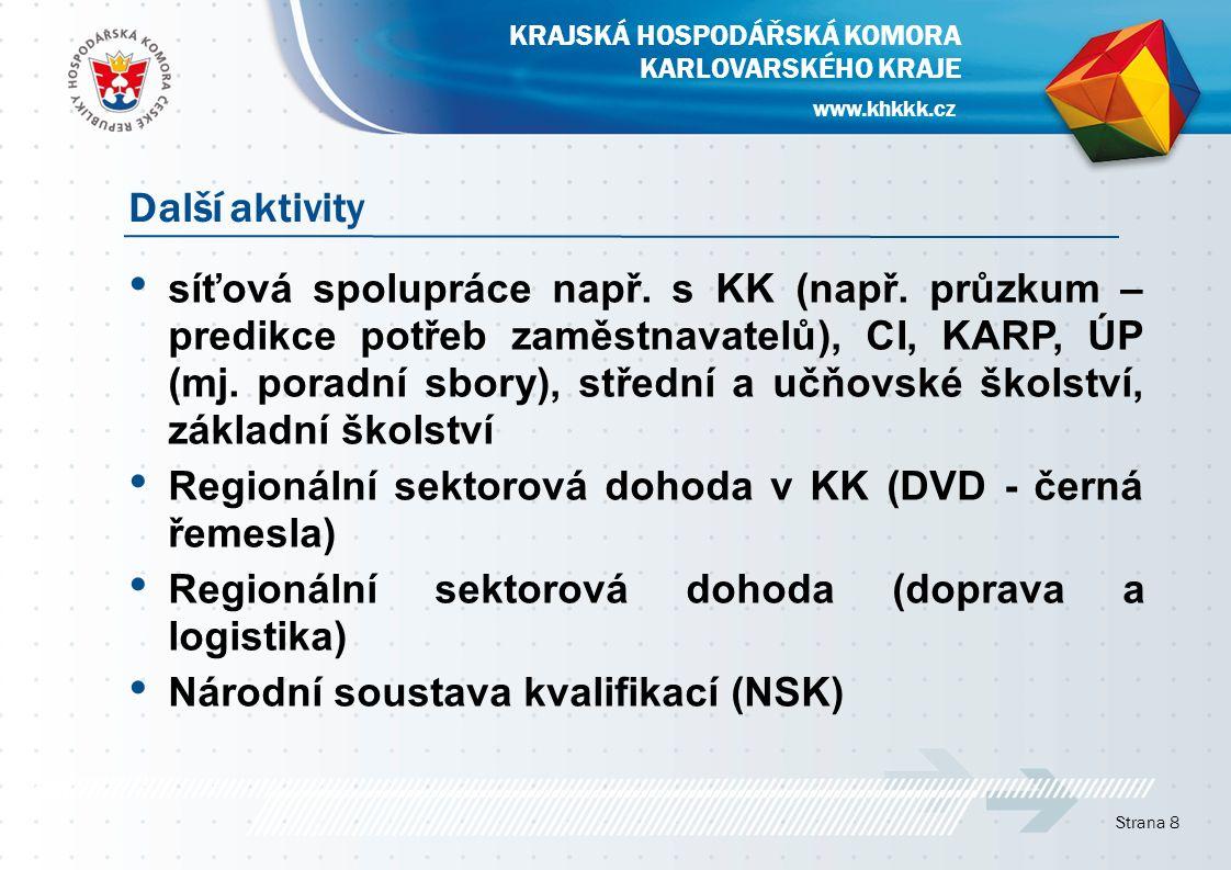 síťová spolupráce např. s KK (např. průzkum – predikce potřeb zaměstnavatelů), CI, KARP, ÚP (mj.