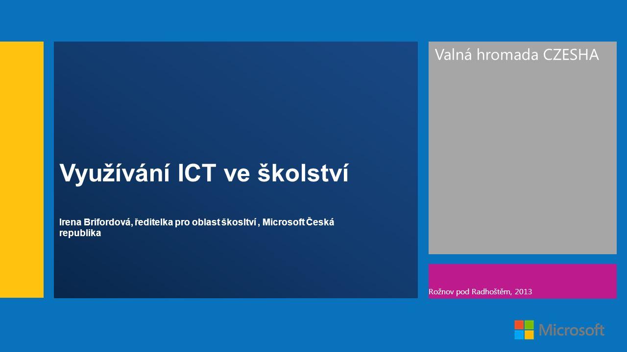 Valná hromada CZESHA Rožnov pod Radhoštěm, 2013 Využívání ICT ve školství Irena Brifordová, ředitelka pro oblast škosltví, Microsoft Česká republika