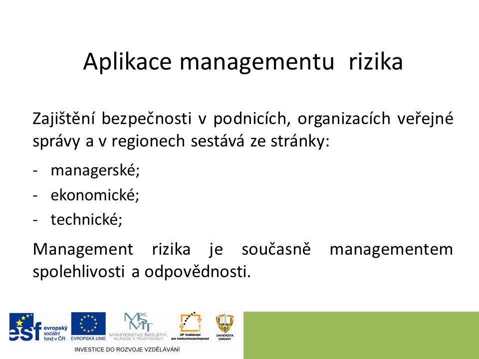 Aplikace managementu rizika Zajištění bezpečnosti v podnicích, organizacích veřejné správy a v regionech sestává ze stránky: -managerské; -ekonomické; -technické; Management rizika je současně managementem spolehlivosti a odpovědnosti.