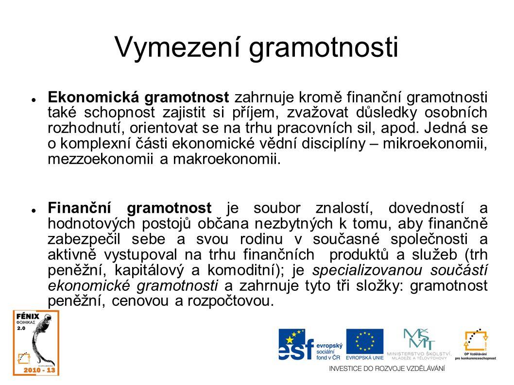 Vymezení gramotnosti Ekonomická gramotnost zahrnuje kromě finanční gramotnosti také schopnost zajistit si příjem, zvažovat důsledky osobních rozhodnutí, orientovat se na trhu pracovních sil, apod.