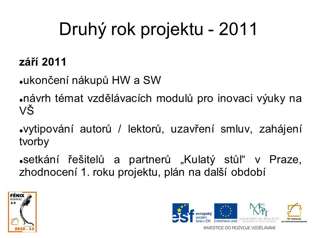 """Druhý rok projektu - 2011 září 2011 ukončení nákupů HW a SW návrh témat vzdělávacích modulů pro inovaci výuky na VŠ vytipování autorů / lektorů, uzavření smluv, zahájení tvorby setkání řešitelů a partnerů """"Kulatý stůl v Praze, zhodnocení 1."""