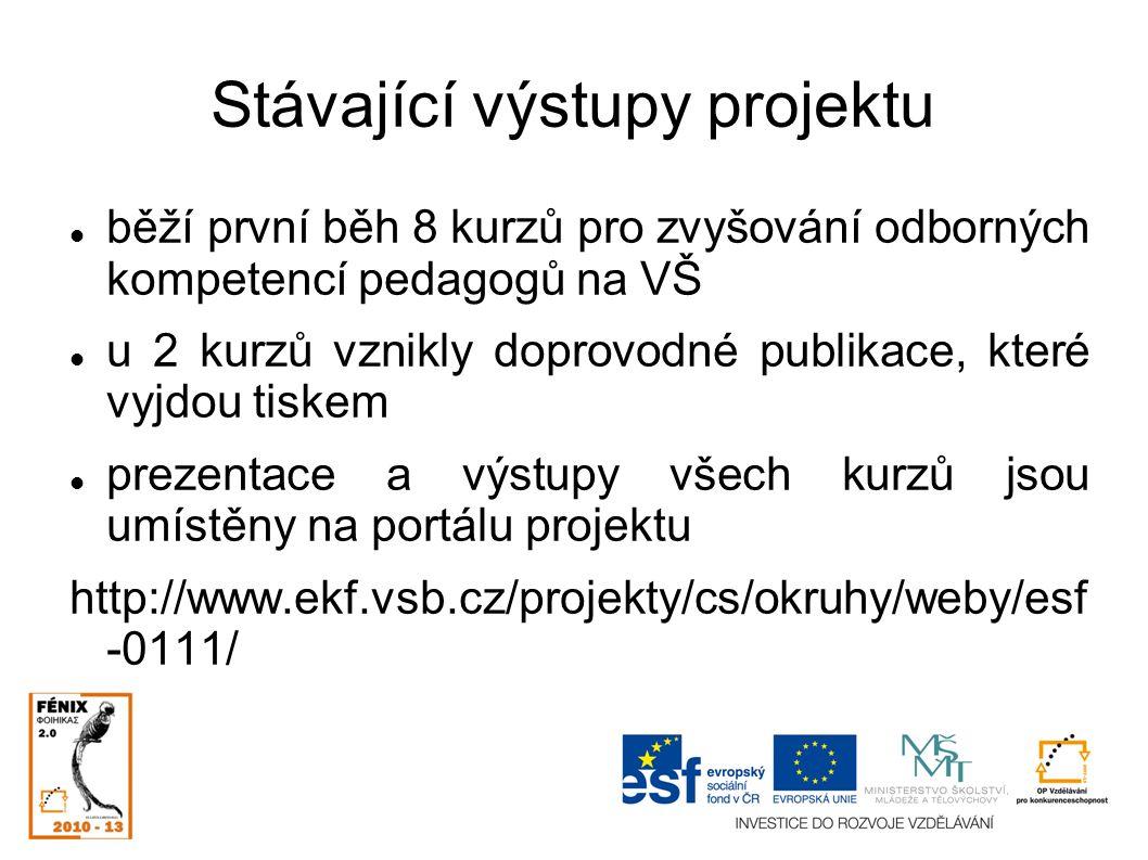 Stávající výstupy projektu běží první běh 8 kurzů pro zvyšování odborných kompetencí pedagogů na VŠ u 2 kurzů vznikly doprovodné publikace, které vyjdou tiskem prezentace a výstupy všech kurzů jsou umístěny na portálu projektu http://www.ekf.vsb.cz/projekty/cs/okruhy/weby/esf -0111/
