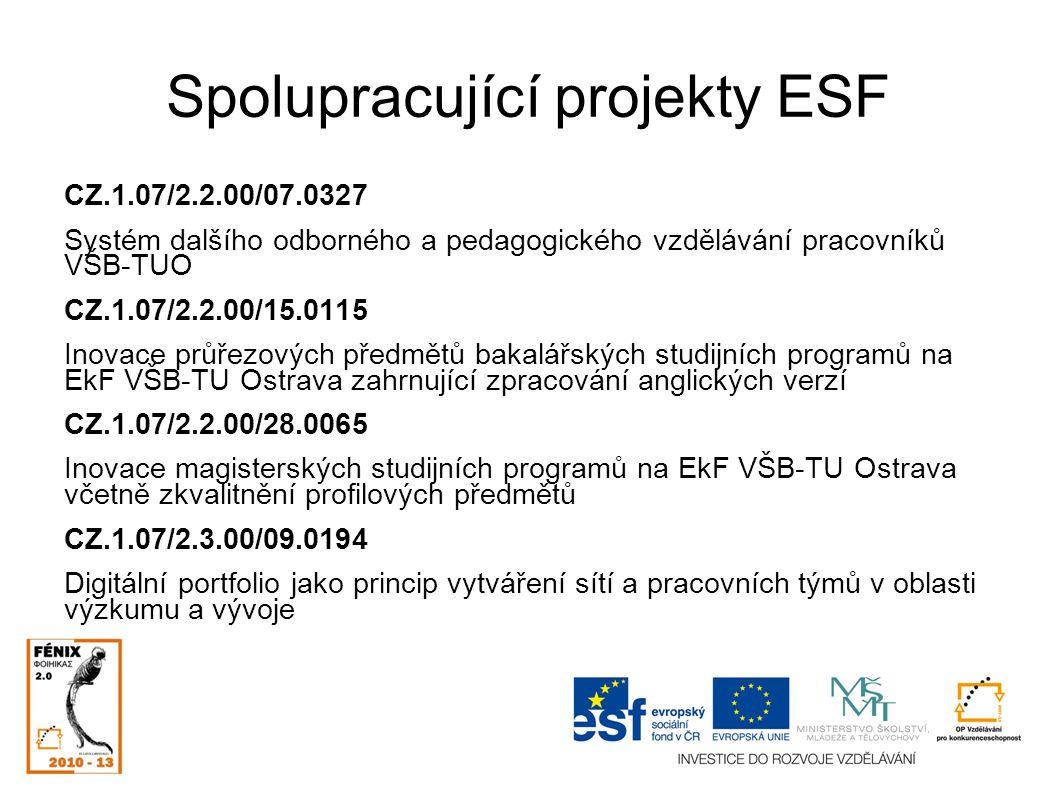 Spolupracující projekty ESF CZ.1.07/2.2.00/07.0327 Systém dalšího odborného a pedagogického vzdělávání pracovníků VŠB-TUO CZ.1.07/2.2.00/15.0115 Inovace průřezových předmětů bakalářských studijních programů na EkF VŠB-TU Ostrava zahrnující zpracování anglických verzí CZ.1.07/2.2.00/28.0065 Inovace magisterských studijních programů na EkF VŠB-TU Ostrava včetně zkvalitnění profilových předmětů CZ.1.07/2.3.00/09.0194 Digitální portfolio jako princip vytváření sítí a pracovních týmů v oblasti výzkumu a vývoje