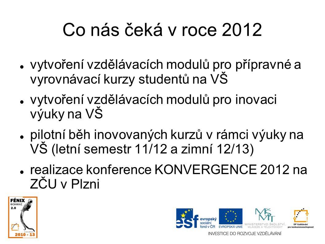 Co nás čeká v roce 2012 vytvoření vzdělávacích modulů pro přípravné a vyrovnávací kurzy studentů na VŠ vytvoření vzdělávacích modulů pro inovaci výuky na VŠ pilotní běh inovovaných kurzů v rámci výuky na VŠ (letní semestr 11/12 a zimní 12/13) realizace konference KONVERGENCE 2012 na ZČU v Plzni