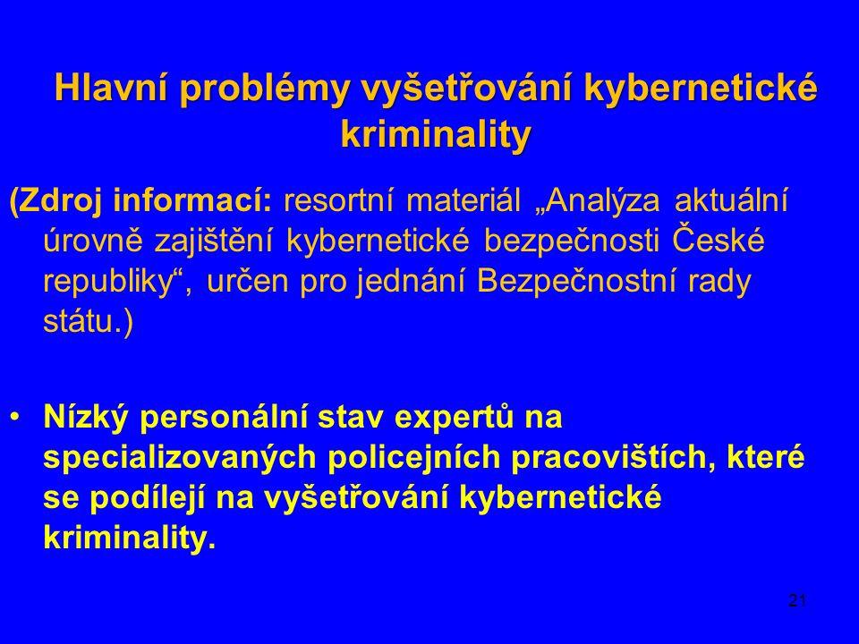 """Hlavní problémy vyšetřování kybernetické kriminality (Zdroj informací: resortní materiál """"Analýza aktuální úrovně zajištění kybernetické bezpečnosti České republiky , určen pro jednání Bezpečnostní rady státu.) Nízký personální stav expertů na specializovaných policejních pracovištích, které se podílejí na vyšetřování kybernetické kriminality."""