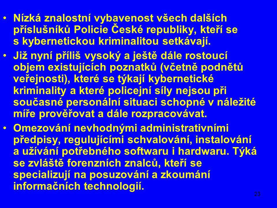 23 Nízká znalostní vybavenost všech dalších příslušníků Policie České republiky, kteří se s kybernetickou kriminalitou setkávají.