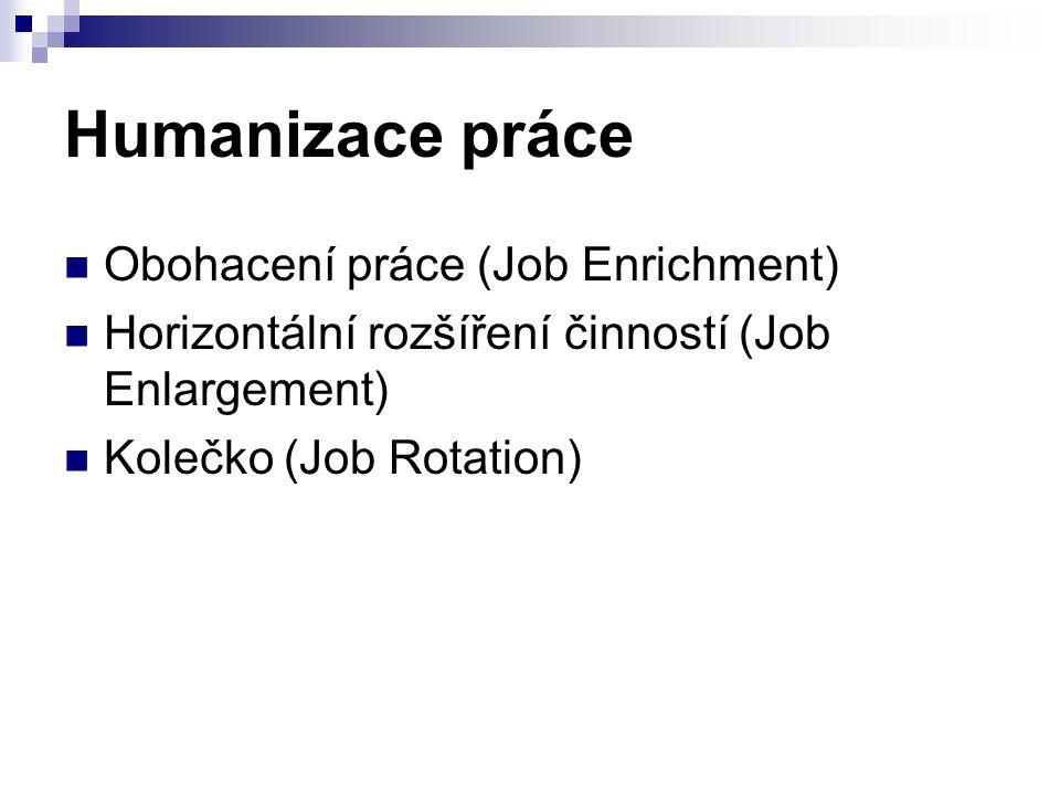 Humanizace práce Obohacení práce (Job Enrichment) Horizontální rozšíření činností (Job Enlargement) Kolečko (Job Rotation)