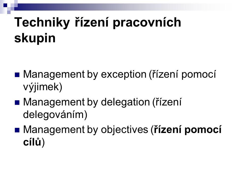 Techniky řízení pracovních skupin Management by exception (řízení pomocí výjimek) Management by delegation (řízení delegováním) Management by objectives (řízení pomocí cílů)