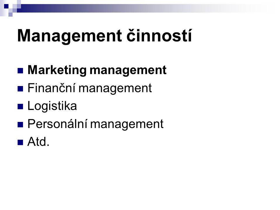 Management činností Marketing management Finanční management Logistika Personální management Atd.