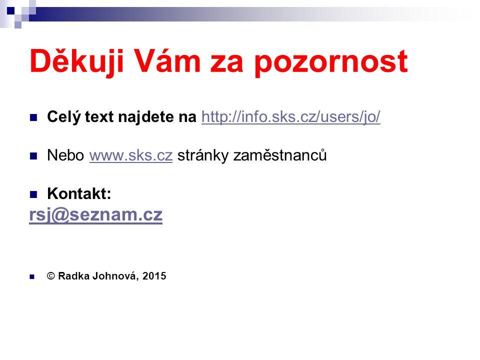 Děkuji Vám za pozornost Celý text najdete na http://info.sks.cz/users/jo/http://info.sks.cz/users/jo/ Nebo www.sks.cz stránky zaměstnancůwww.sks.cz Kontakt: rsj@seznam.cz © Radka Johnová, 2015
