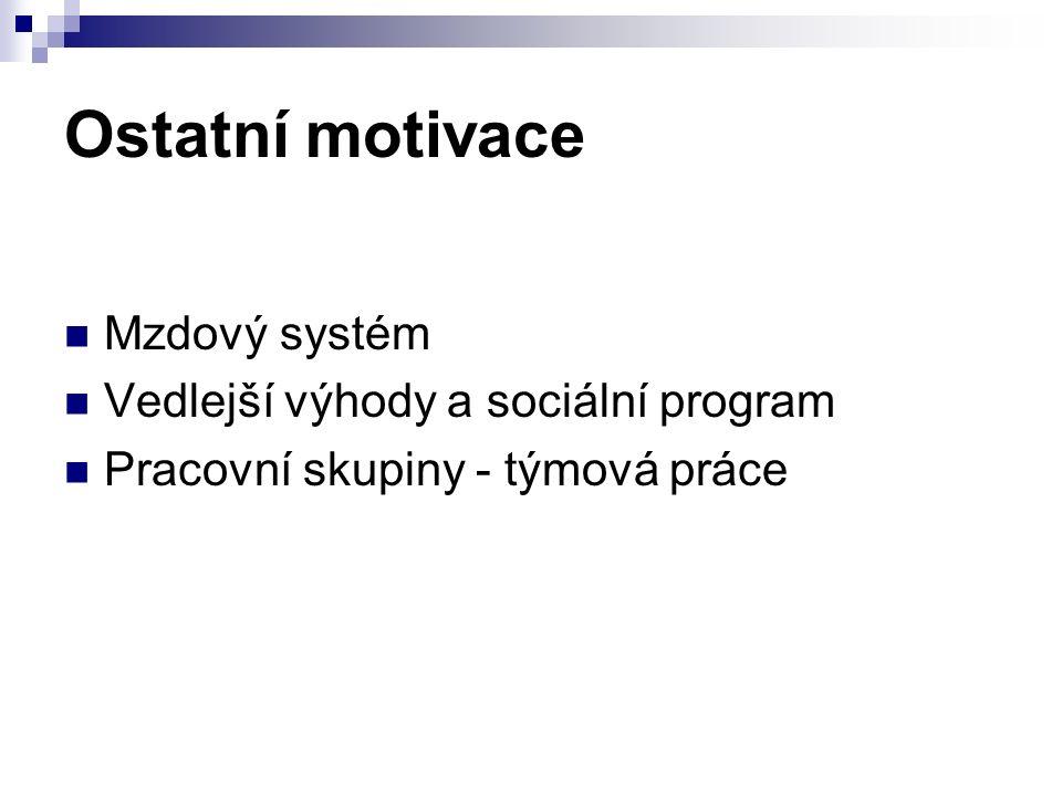 Ostatní motivace Mzdový systém Vedlejší výhody a sociální program Pracovní skupiny - týmová práce