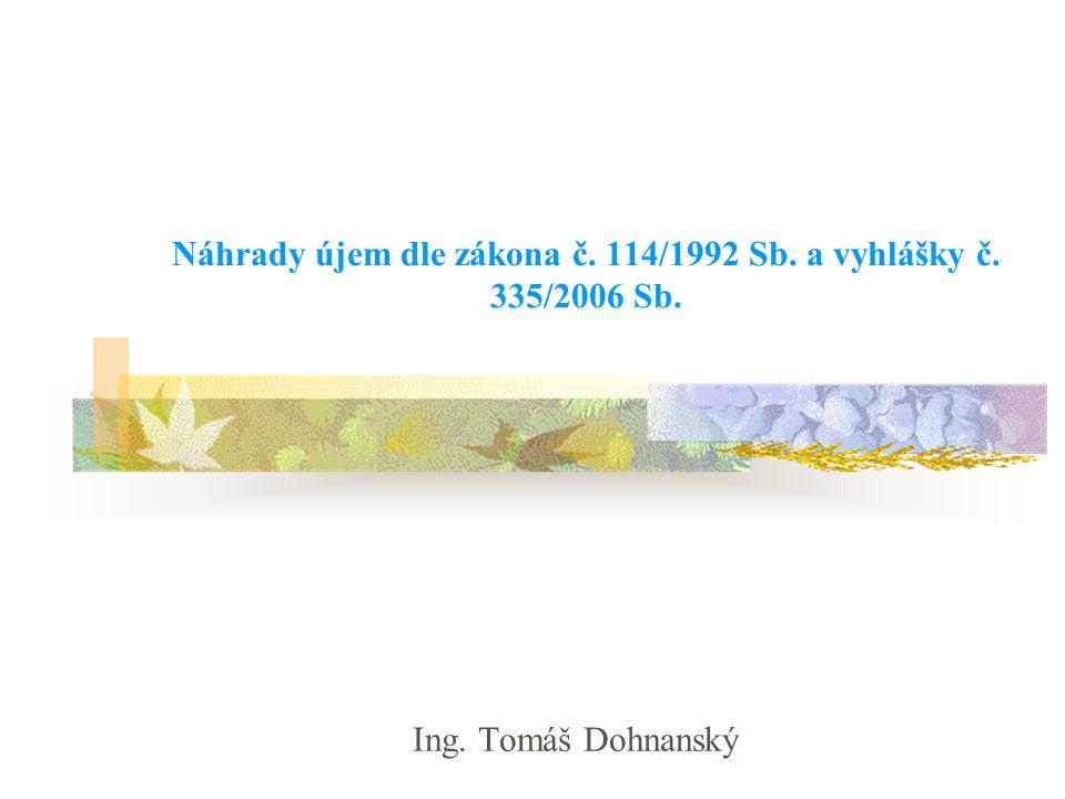 Náhrady újem dle zákona č. 114/1992 Sb. a vyhlášky č. 335/2006 Sb. Ing. Tomáš Dohnanský