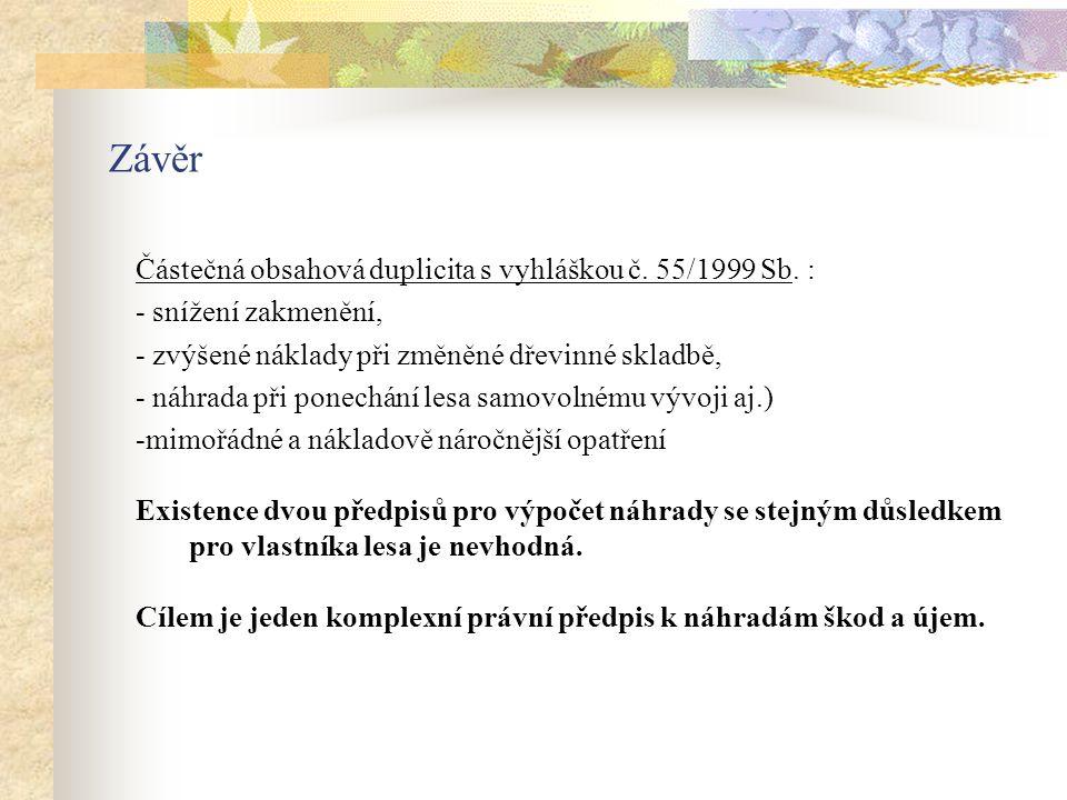 Závěr Částečná obsahová duplicita s vyhláškou č. 55/1999 Sb.