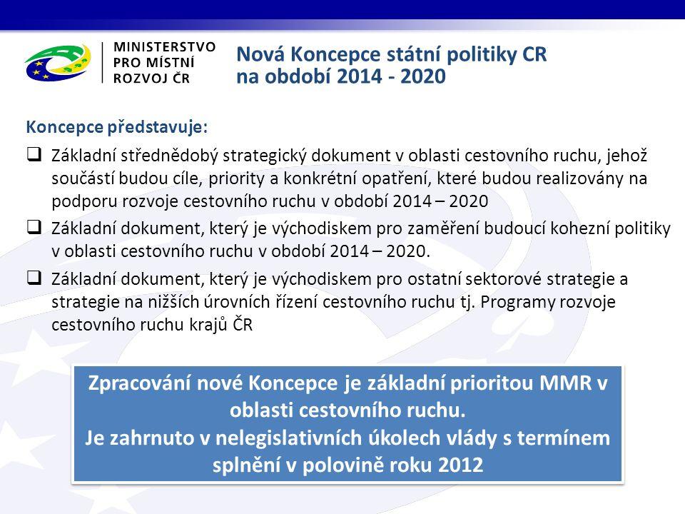Koncepce představuje:  Základní střednědobý strategický dokument v oblasti cestovního ruchu, jehož součástí budou cíle, priority a konkrétní opatření, které budou realizovány na podporu rozvoje cestovního ruchu v období 2014 – 2020  Základní dokument, který je východiskem pro zaměření budoucí kohezní politiky v oblasti cestovního ruchu v období 2014 – 2020.