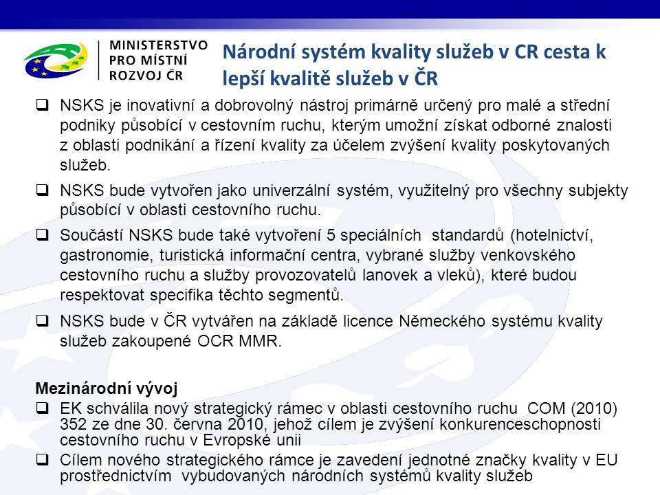 Národní systém kvality služeb v CR cesta k lepší kvalitě služeb v ČR  NSKS je inovativní a dobrovolný nástroj primárně určený pro malé a střední podniky působící v cestovním ruchu, kterým umožní získat odborné znalosti z oblasti podnikání a řízení kvality za účelem zvýšení kvality poskytovaných služeb.
