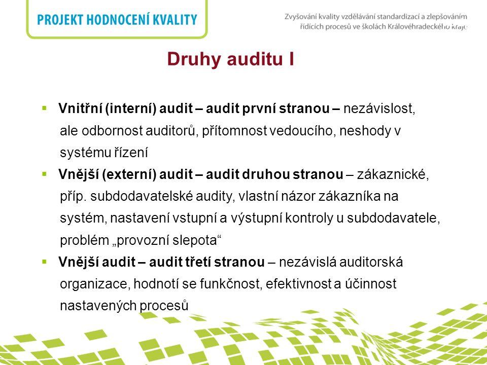 nadpis Druhy auditu I  Vnitřní (interní) audit – audit první stranou – nezávislost, ale odbornost auditorů, přítomnost vedoucího, neshody v systému řízení  Vnější (externí) audit – audit druhou stranou – zákaznické, příp.
