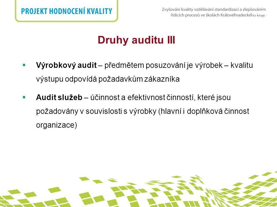 nadpis Druhy auditu III  Výrobkový audit – předmětem posuzování je výrobek – kvalitu výstupu odpovídá požadavkům zákazníka  Audit služeb – účinnost a efektivnost činností, které jsou požadovány v souvislosti s výrobky (hlavní i doplňková činnost organizace)