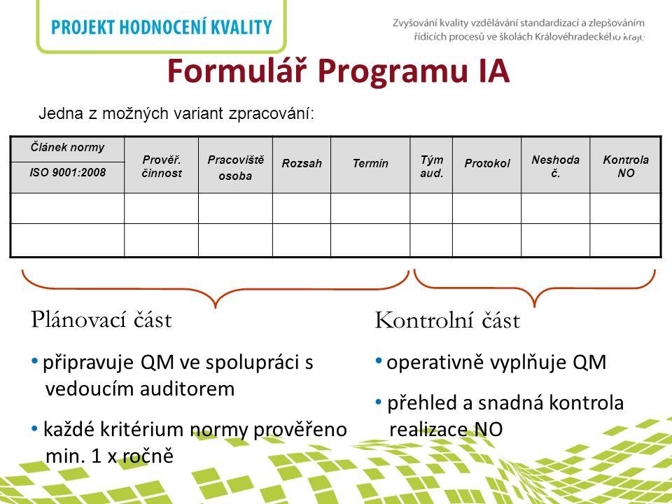 nadpis Formulář Programu IA Článek normy Prověř. činnost Pracoviště osoba RozsahTermín Tým aud.