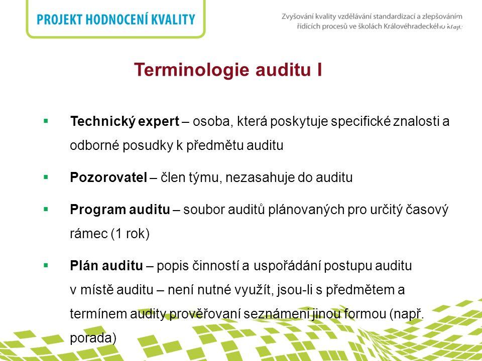 nadpis Znalosti a dovednosti auditorů  Zásady auditu, postupy a techniky efektivně plánovat a organizovat práci provádět audit ve schváleném časovém rozvrhu zaměřovat se na prioritní a významné věci shromažďovat informace během efektivního pohovoru, poslechu, pozorování a přezkoumávání dok., záznamů a dat ověřovat přesnost shromažďovaných informací připravovat zprávy z auditu dodržovat důvěrnost a ochranu informací efektivně komunikovat