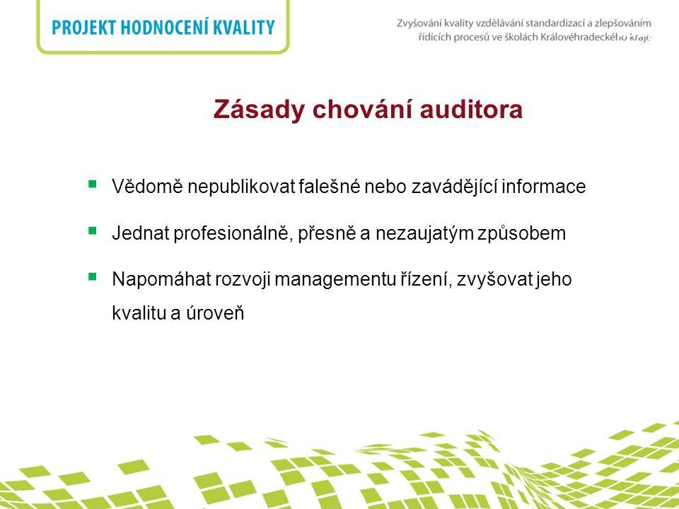 nadpis Zásady chování auditora  Vědomě nepublikovat falešné nebo zavádějící informace  Jednat profesionálně, přesně a nezaujatým způsobem  Napomáhat rozvoji managementu řízení, zvyšovat jeho kvalitu a úroveň