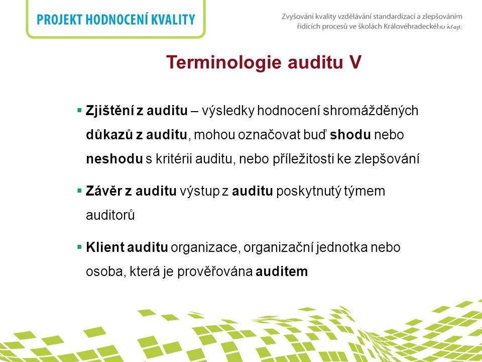 nadpis  Zjištění z auditu – výsledky hodnocení shromážděných důkazů z auditu, mohou označovat buď shodu nebo neshodu s kritérii auditu, nebo příležitosti ke zlepšování  Závěr z auditu výstup z auditu poskytnutý týmem auditorů  Klient auditu organizace, organizační jednotka nebo osoba, která je prověřována auditem Terminologie auditu V