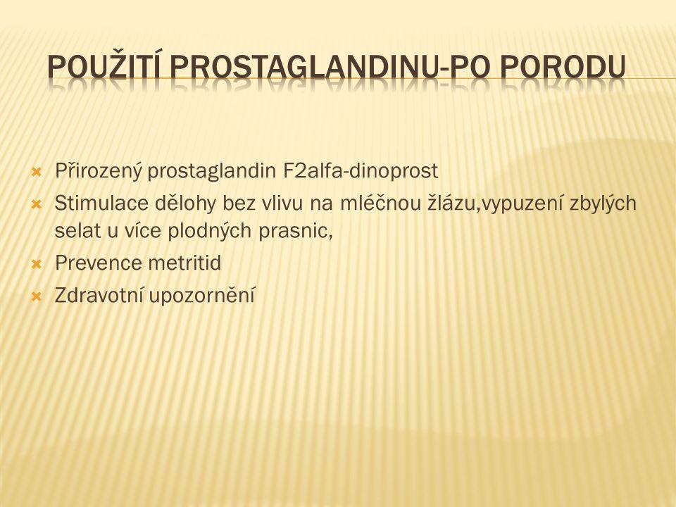  Přirozený prostaglandin F2alfa-dinoprost  Stimulace dělohy bez vlivu na mléčnou žlázu,vypuzení zbylých selat u více plodných prasnic,  Prevence me