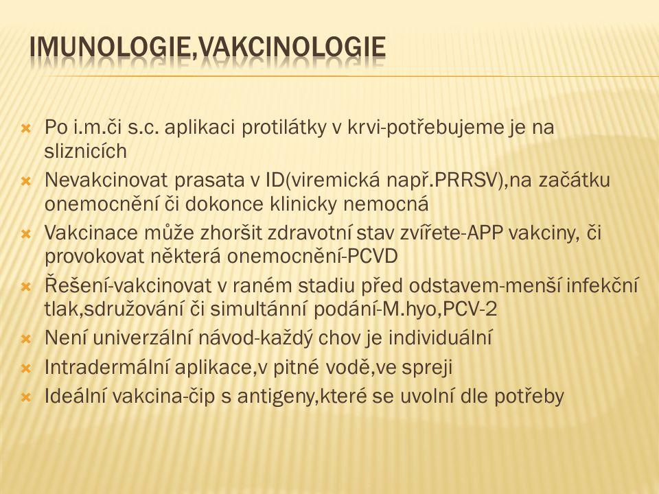  Po i.m.či s.c. aplikaci protilátky v krvi-potřebujeme je na sliznicích  Nevakcinovat prasata v ID(viremická např.PRRSV),na začátku onemocnění či do