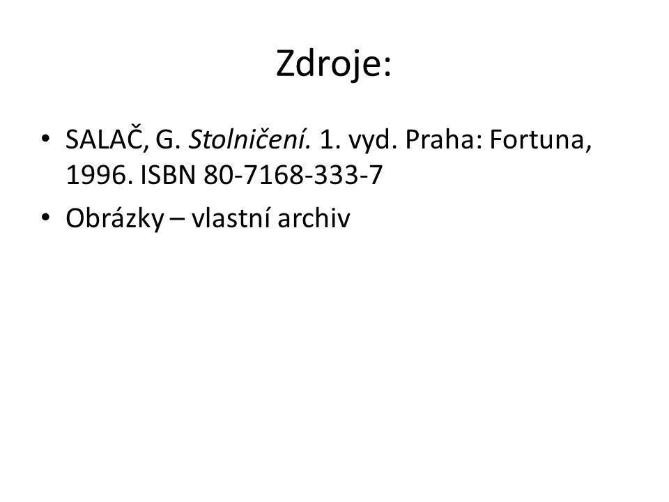 Zdroje: SALAČ, G. Stolničení. 1. vyd. Praha: Fortuna, 1996. ISBN 80-7168-333-7 Obrázky – vlastní archiv