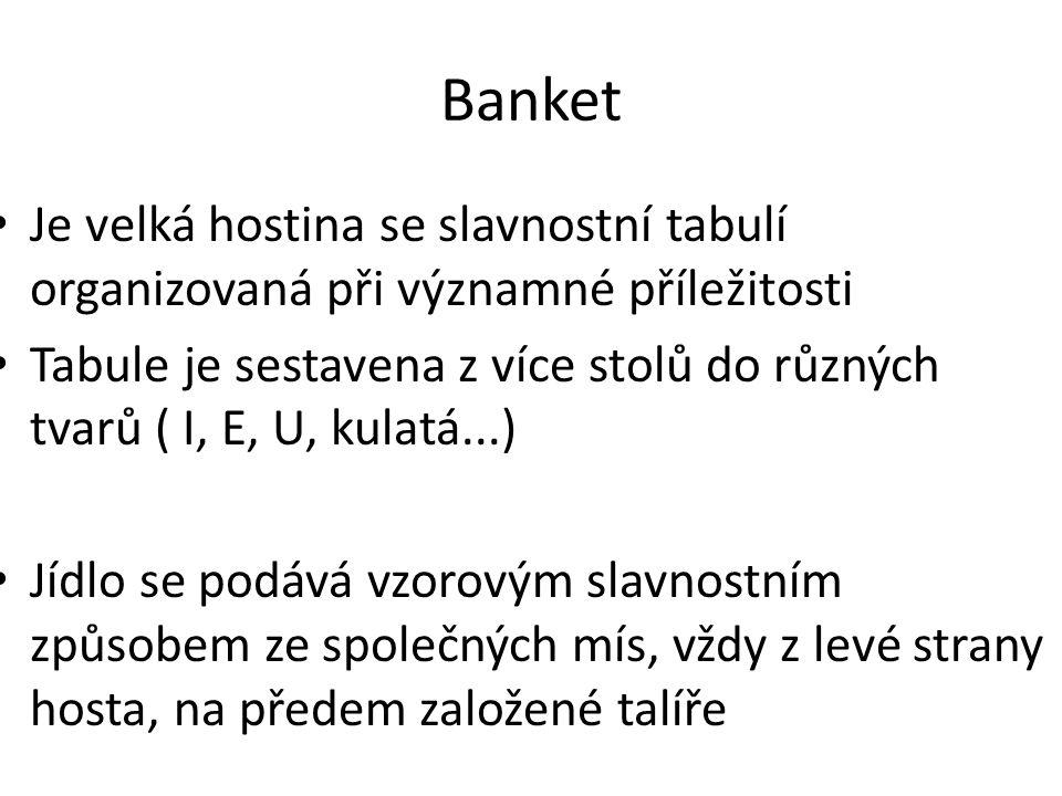 Banket Je velká hostina se slavnostní tabulí organizovaná při významné příležitosti Tabule je sestavena z více stolů do různých tvarů ( I, E, U, kulat