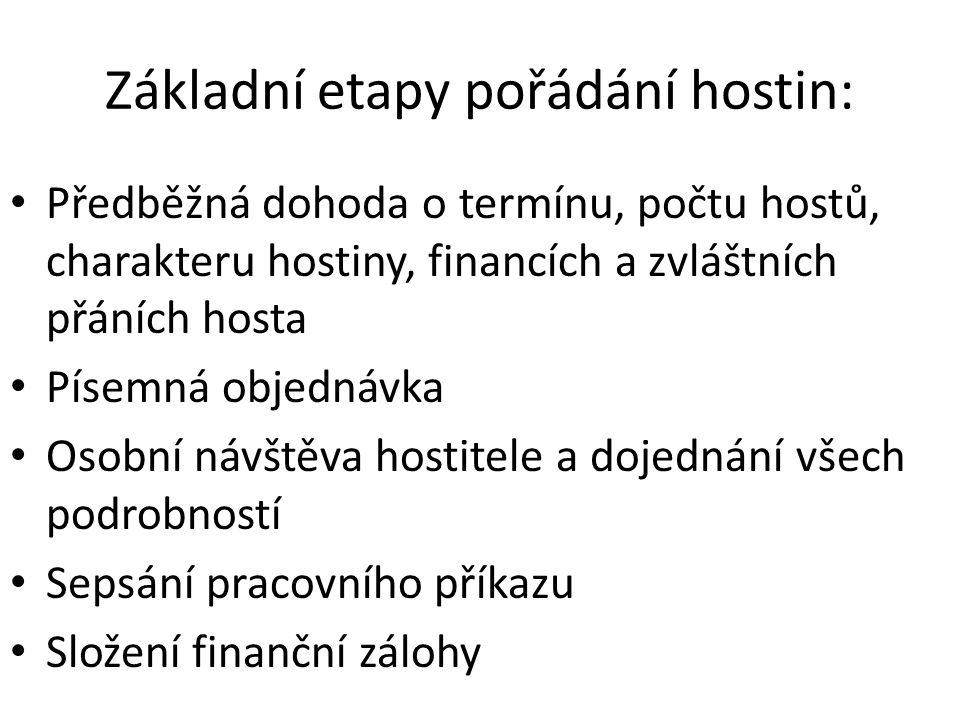 Základní etapy pořádání hostin: Předběžná dohoda o termínu, počtu hostů, charakteru hostiny, financích a zvláštních přáních hosta Písemná objednávka O