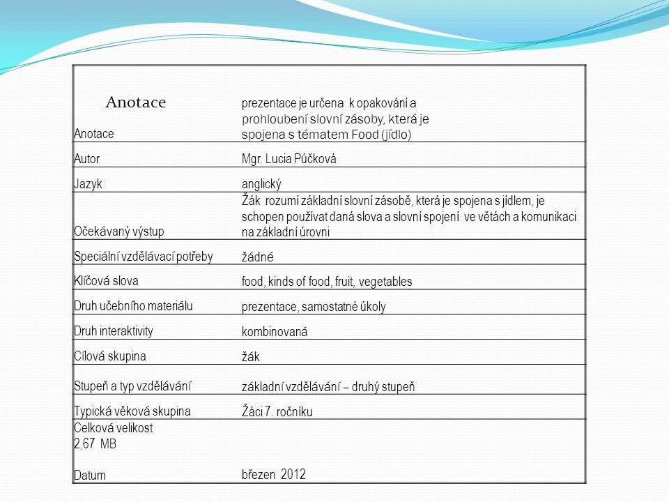 Anotace prezentace je určen a k opakování a prohloubení slovní zásoby, která je spojena s tématem Food (jídlo) AutorMgr.