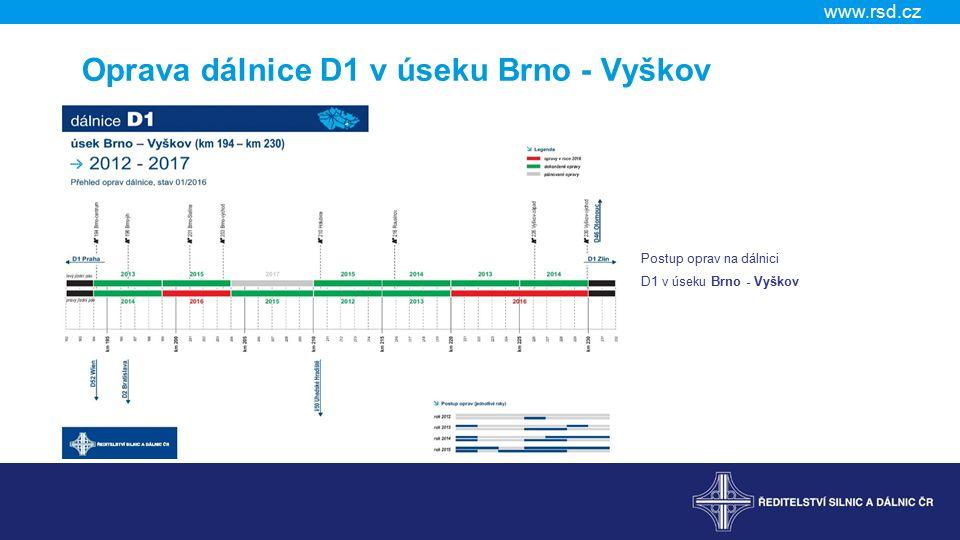 www.rsd.cz Oprava dálnice D1 v úseku Brno - Vyškov Postup oprav na dálnici D1 v úseku Brno - Vyškov