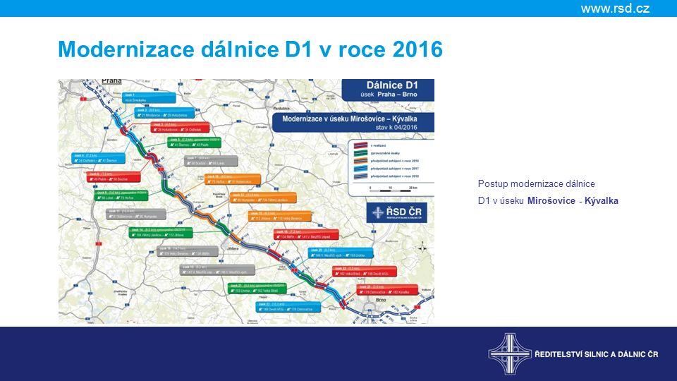 www.rsd.cz Modernizace dálnice D1 v roce 2016 Postup modernizace dálnice D1 v úseku Mirošovice - Kývalka