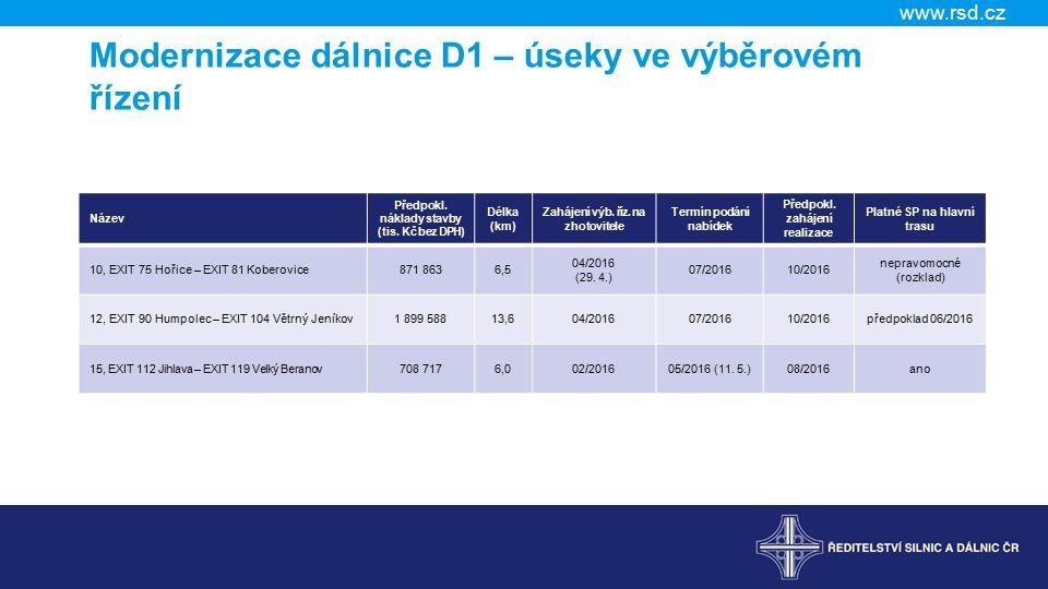 www.rsd.cz Modernizace dálnice D1 – úseky ve výběrovém řízení Název Předpokl.