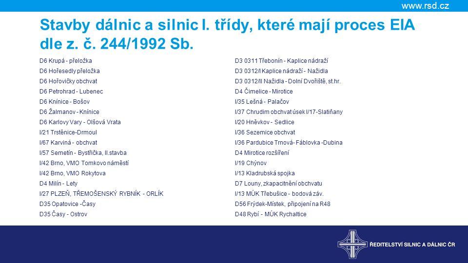 www.rsd.cz Stavby dálnic a silnic I. třídy, které mají proces EIA dle z.