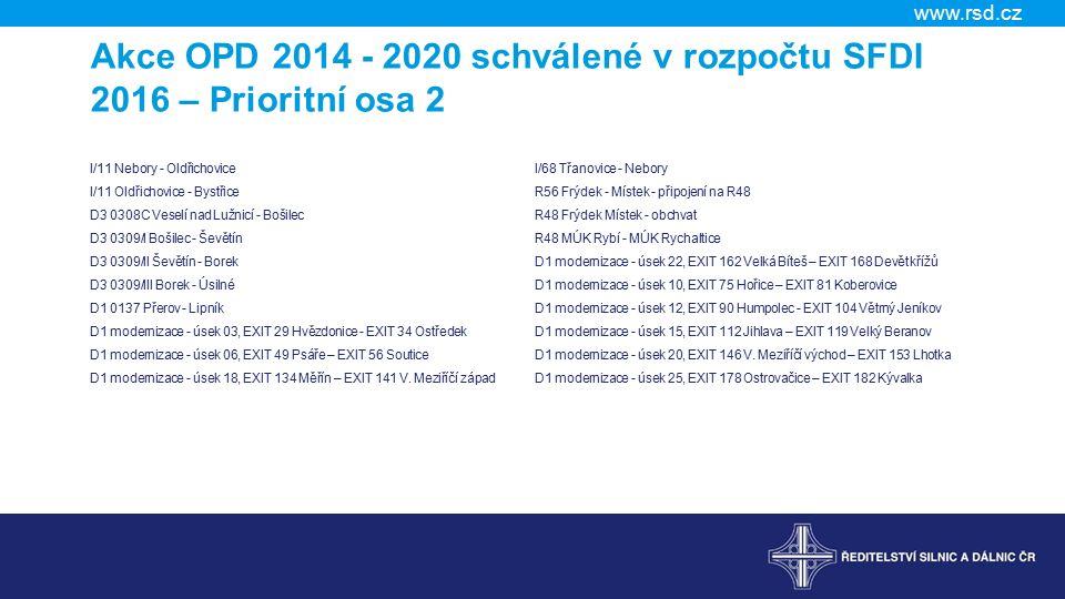 www.rsd.cz Akce OPD 2014 - 2020 schválené v rozpočtu SFDI 2016 – Prioritní osa 2 I/11 Nebory - Oldřichovice I/11 Oldřichovice - Bystřice D3 0308C Veselí nad Lužnicí - Bošilec D3 0309/I Bošilec - Ševětín D3 0309/II Ševětín - Borek D3 0309/III Borek - Úsilné D1 0137 Přerov - Lipník D1 modernizace - úsek 03, EXIT 29 Hvězdonice - EXIT 34 Ostředek D1 modernizace - úsek 06, EXIT 49 Psáře – EXIT 56 Soutice D1 modernizace - úsek 18, EXIT 134 Měřín – EXIT 141 V.