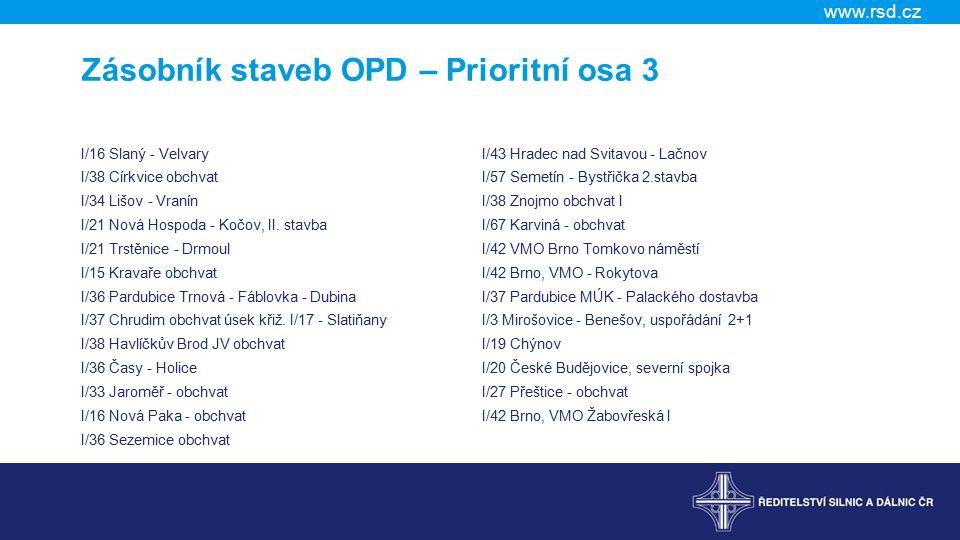 www.rsd.cz Zásobník staveb OPD – Prioritní osa 3 I/16 Slaný - Velvary I/38 Církvice obchvat I/34 Lišov - Vranín I/21 Nová Hospoda - Kočov, II.