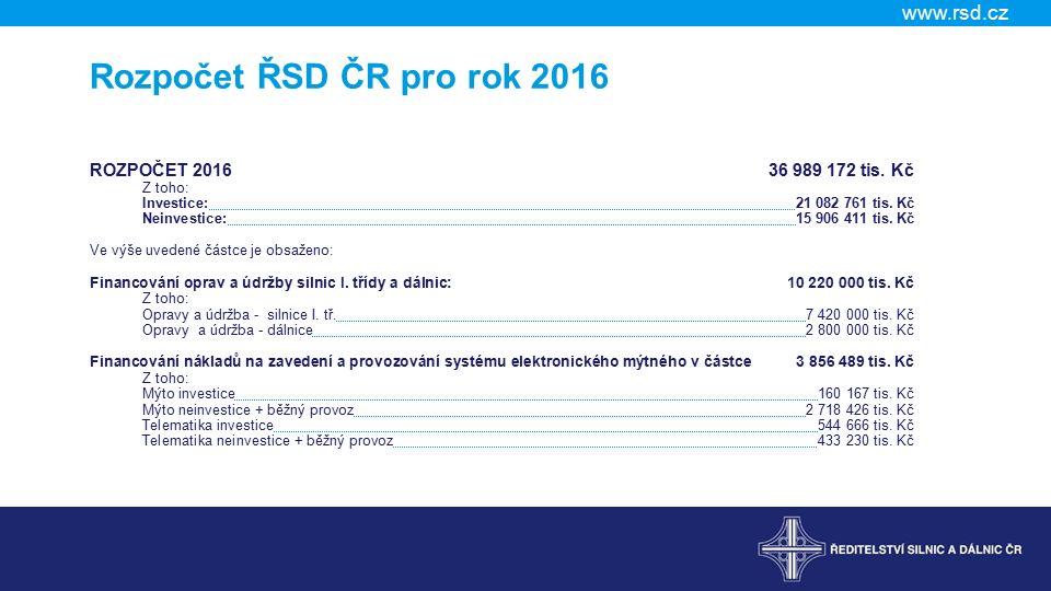www.rsd.cz Rozpočet ŘSD ČR pro rok 2016 ROZPOČET 201636 989 172 tis.