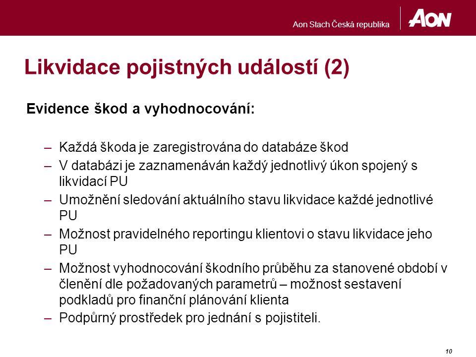 Aon Stach Česká republika 10 Likvidace pojistných událostí (2) Evidence škod a vyhodnocování: –Každá škoda je zaregistrována do databáze škod –V datab