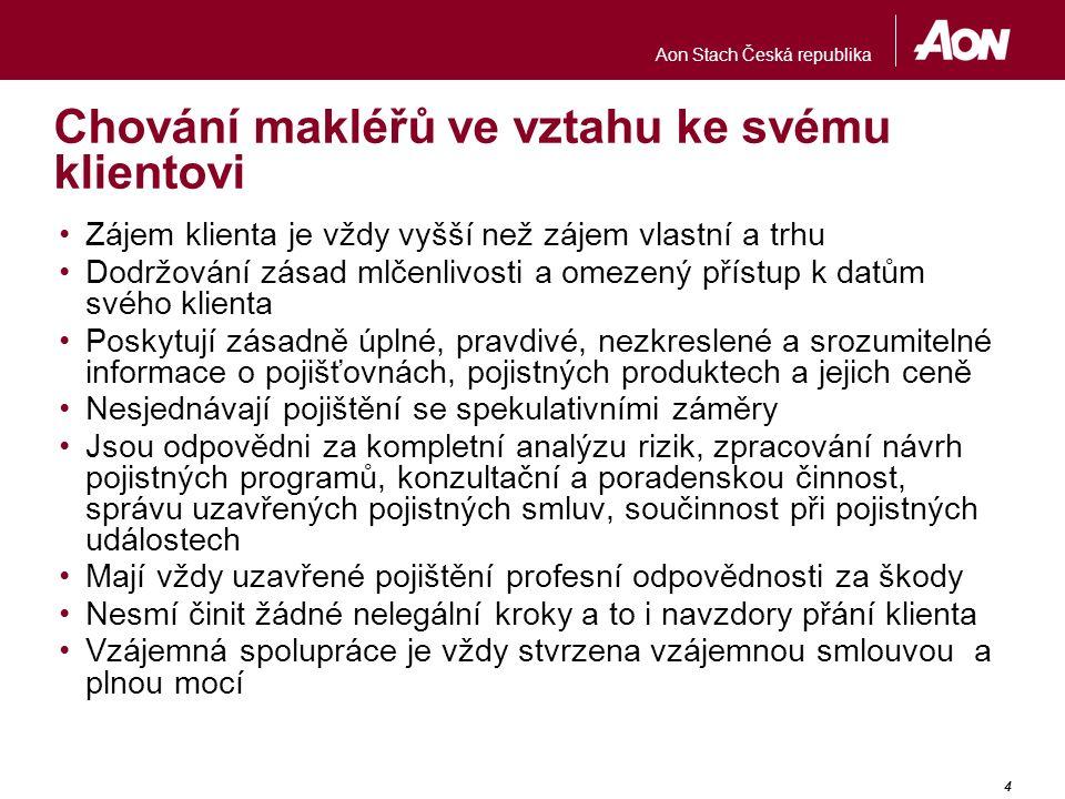 Aon Stach Česká republika 4 Chování makléřů ve vztahu ke svému klientovi Zájem klienta je vždy vyšší než zájem vlastní a trhu Dodržování zásad mlčenli