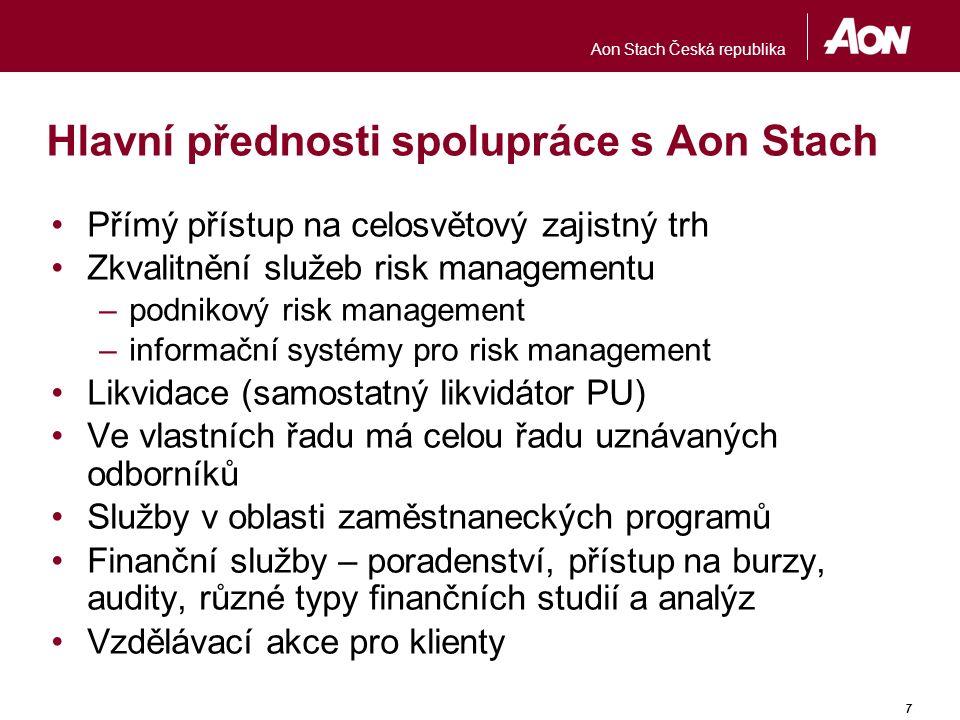 Aon Stach Česká republika 7 Hlavní přednosti spolupráce s Aon Stach Přímý přístup na celosvětový zajistný trh Zkvalitnění služeb risk managementu –pod