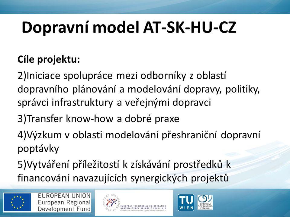 Dopravní model AT-SK-HU-CZ Cíle projektu: 2)Iniciace spolupráce mezi odborníky z oblastí dopravního plánování a modelování dopravy, politiky, správci infrastruktury a veřejnými dopravci 3)Transfer know-how a dobré praxe 4)Výzkum v oblasti modelování přeshraniční dopravní poptávky 5)Vytváření příležitostí k získávání prostředků k financování navazujících synergických projektů