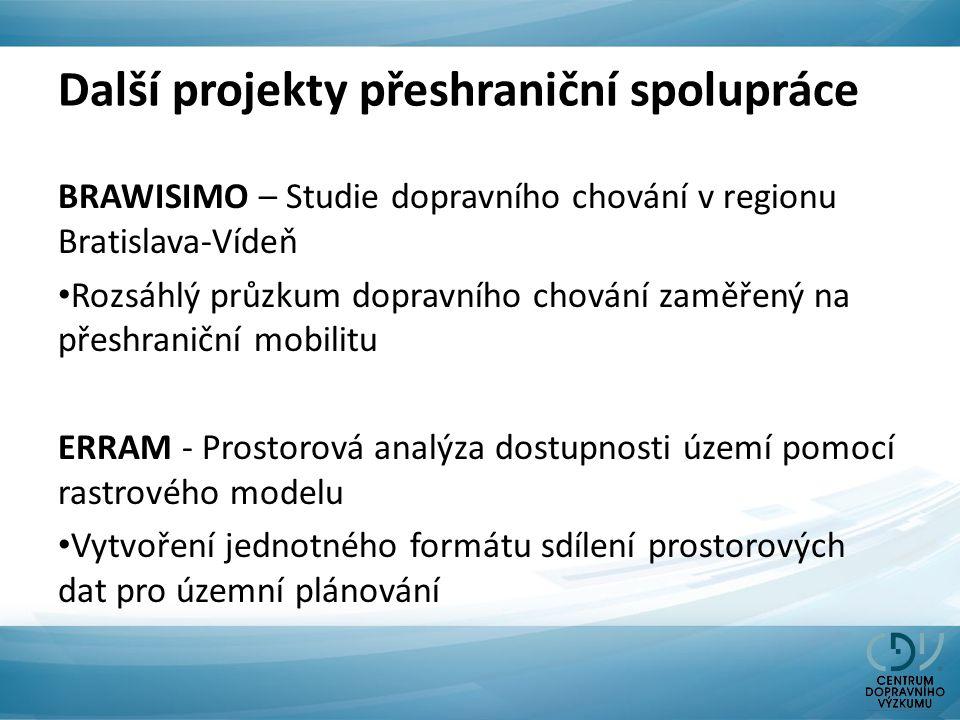 Další projekty přeshraniční spolupráce BRAWISIMO – Studie dopravního chování v regionu Bratislava-Vídeň Rozsáhlý průzkum dopravního chování zaměřený na přeshraniční mobilitu ERRAM - Prostorová analýza dostupnosti území pomocí rastrového modelu Vytvoření jednotného formátu sdílení prostorových dat pro územní plánování