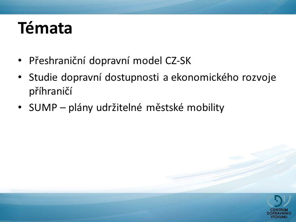 Témata Přeshraniční dopravní model CZ-SK Studie dopravní dostupnosti a ekonomického rozvoje příhraničí SUMP – plány udržitelné městské mobility