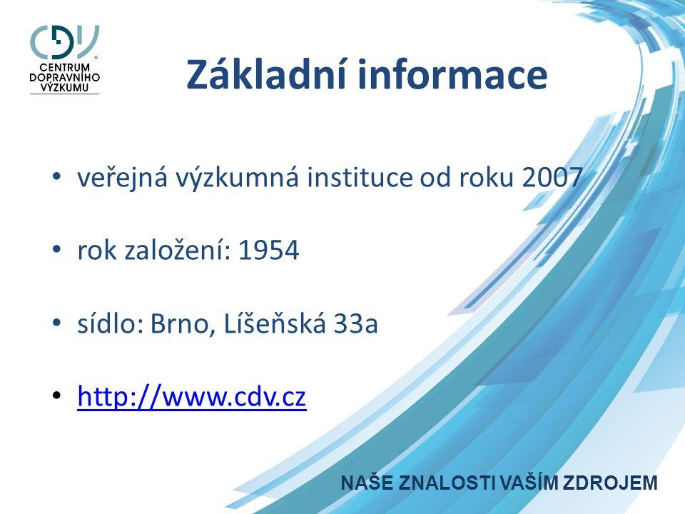 Základní informace veřejná výzkumná instituce od roku 2007 rok založení: 1954 sídlo: Brno, Líšeňská 33a http://www.cdv.cz NAŠE ZNALOSTI VAŠÍM ZDROJEM